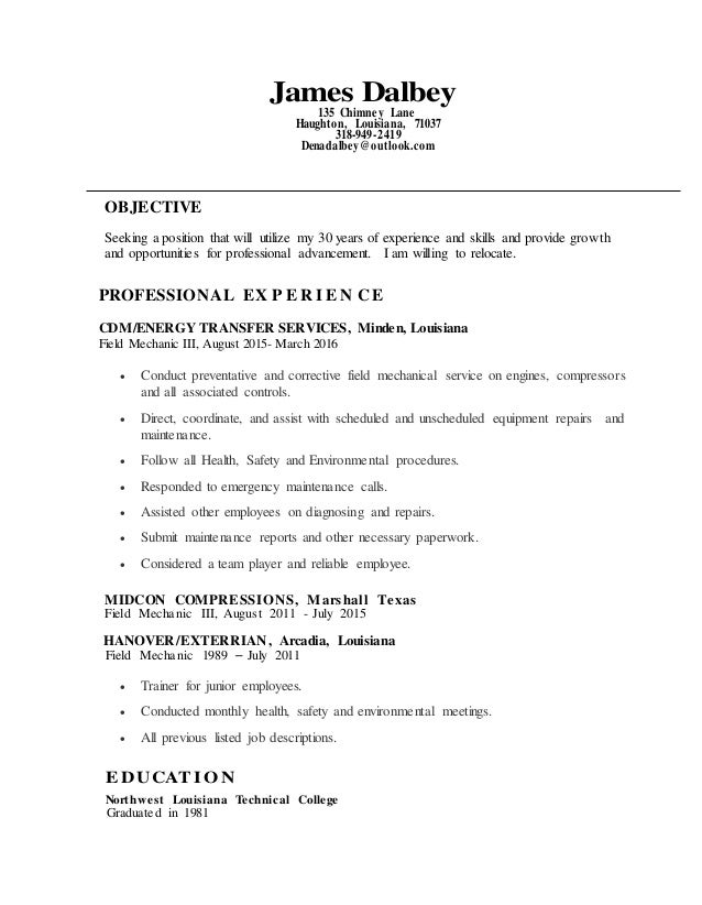 James Dalbey Resume