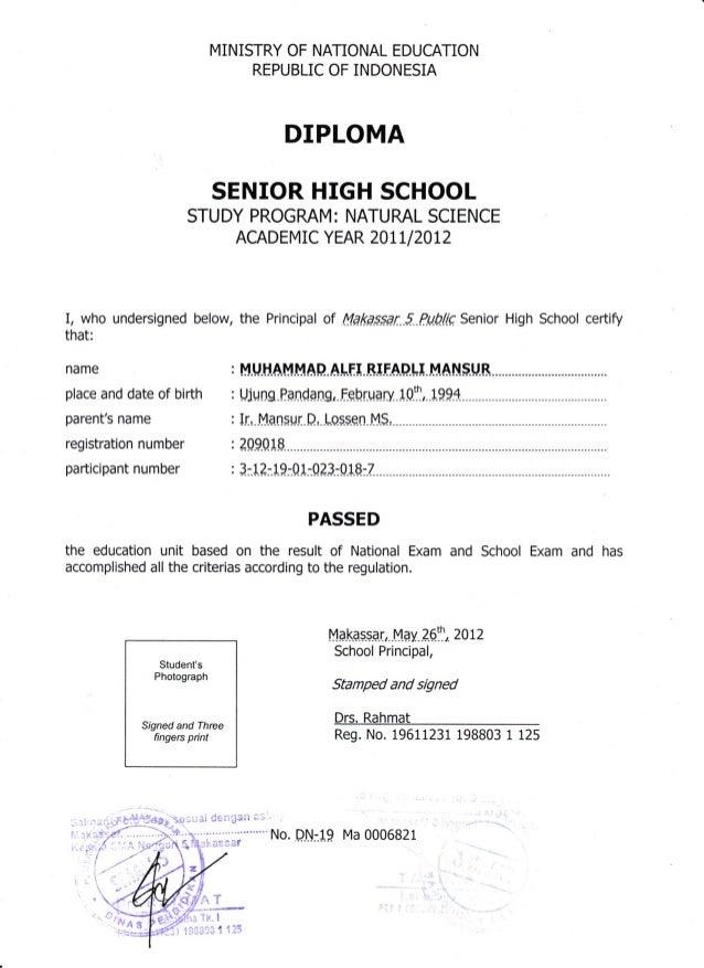 senior high school diploma certificate