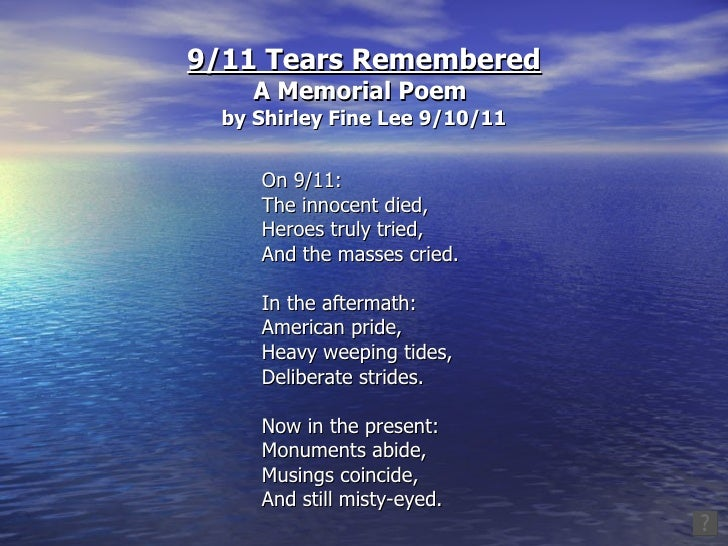9 11 tears remembered a memorial poem