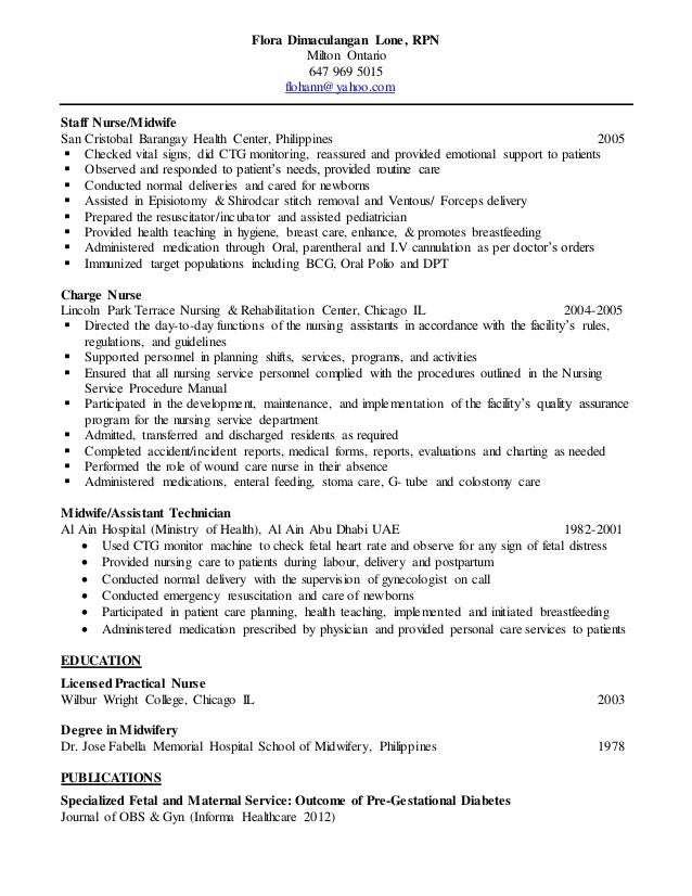 rpn sample resume