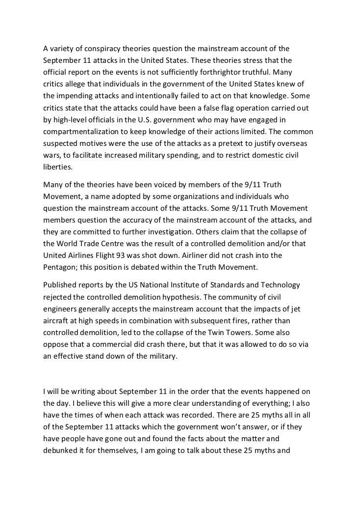 September  Essay  Barcafontanacountryinncom September  Essay  Conspiracy Theories Dissertation