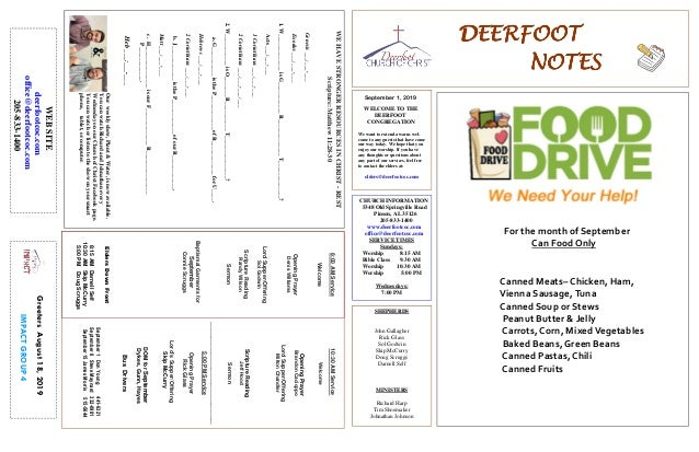 DEERFOOTDEERFOOTDEERFOOTDEERFOOT NOTESNOTESNOTESNOTES September 1, 2019 GreetersAugust18,2019 IMPACTGROUP4 WELCOME TO THE ...