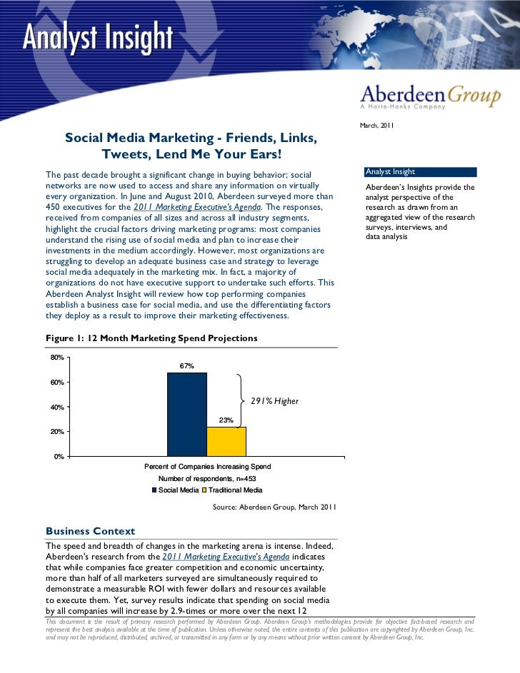 March, 2011        Social Media Marketing - Friends, Links,              Tweets, Lend Me Your Ears!The past decade brought...