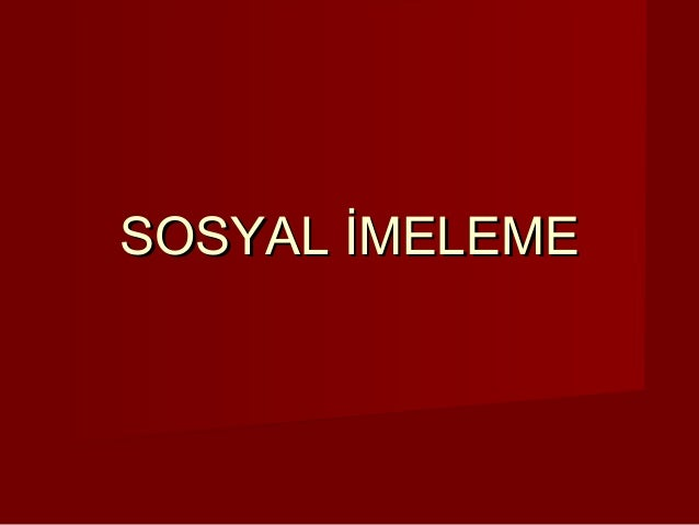 SOSYAL İMELEME