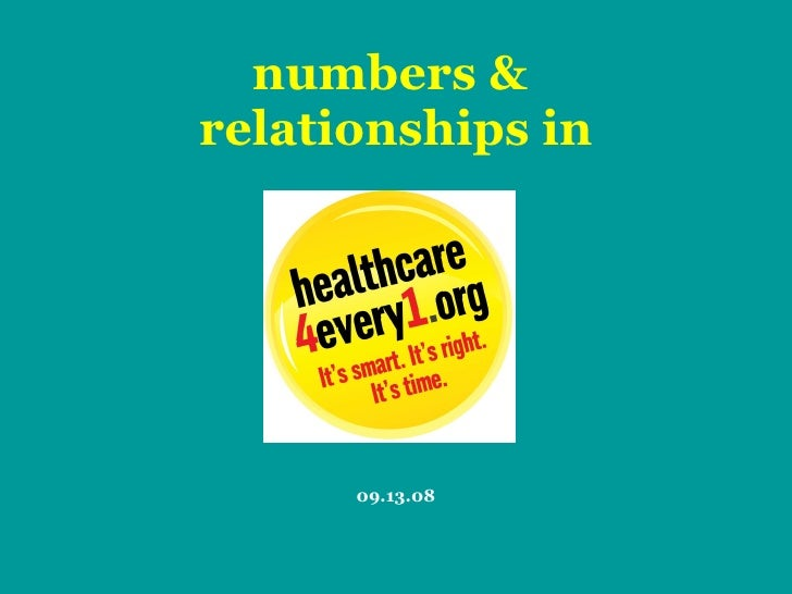 numbers &  relationships in 09.13.08