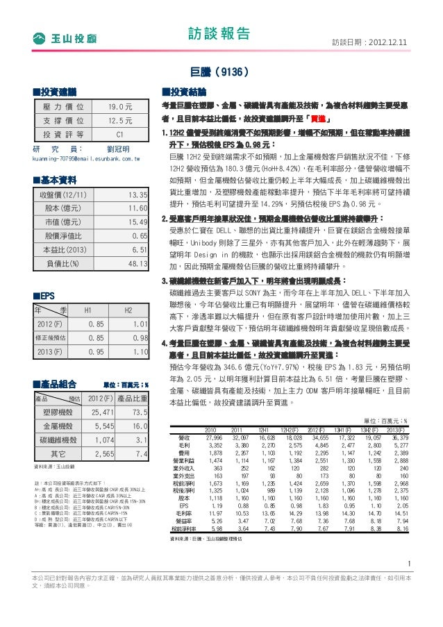 訪談報告                                          訪談日期:2012.12.11                                                      巨騰(9136...