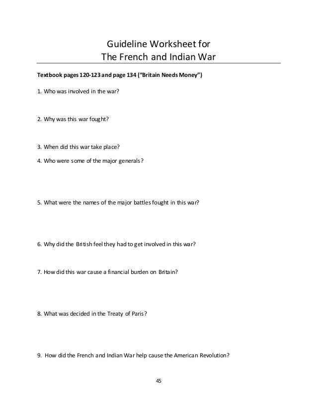 Portfolio – French and Indian War Worksheet