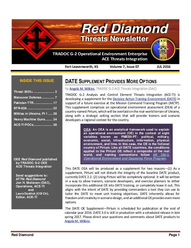 Red Diamond Page 1 TRADOC G-2 Operational Environment Enterprise ACE Threats Integration Threats Newsletter Red Diamond DA...