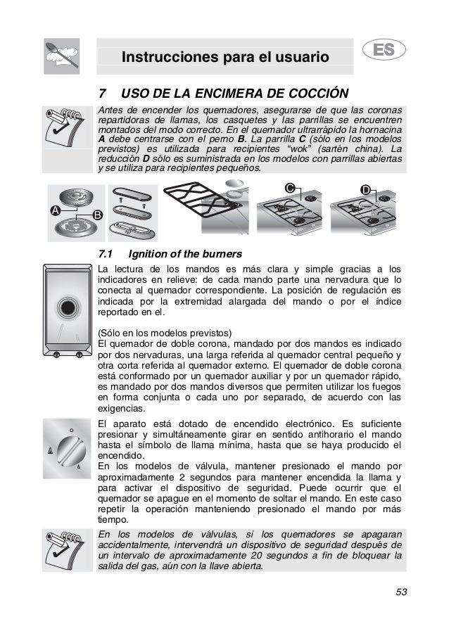 Instrucciones para el usuario 53 7 USO DE LA ENCIMERA DE COCCIÓN Antes de encender los quemadores, asegurarse de que las c...