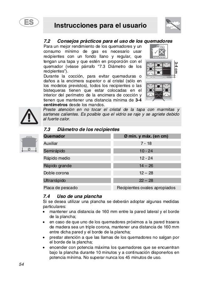 Instrucciones para el usuario 54 7.2 Consejos prácticos para el uso de los quemadores Para un mejor rendimiento de los que...