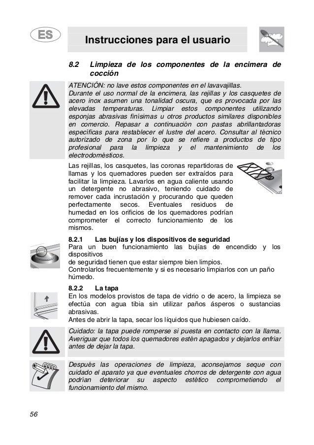 Instrucciones para el usuario 56 8.2 Limpieza de los componentes de la encimera de cocción ATENCIÓN: no lave estos compone...
