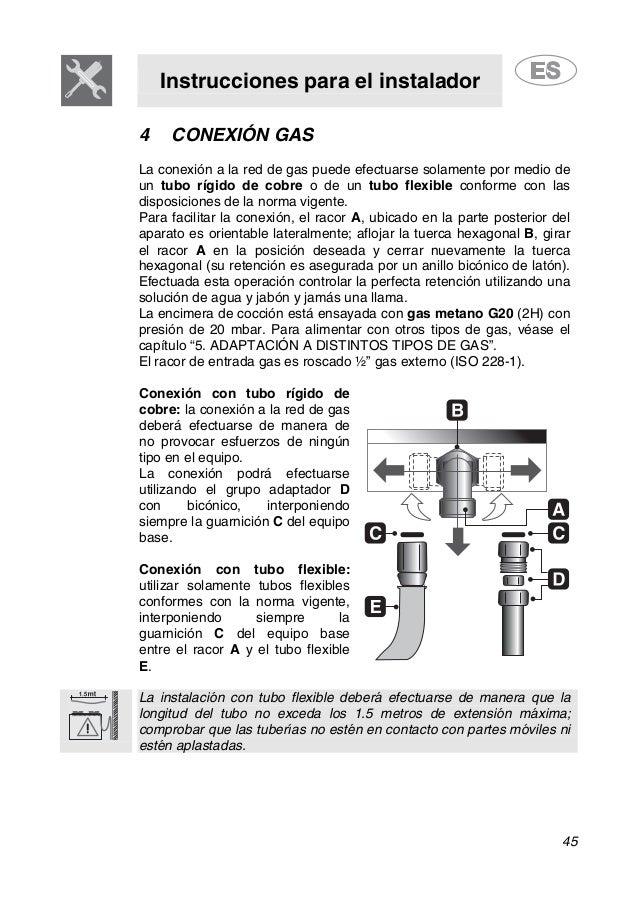 Instrucciones para el instalador 45 4 CONEXIÓN GAS La conexión a la red de gas puede efectuarse solamente por medio de un ...