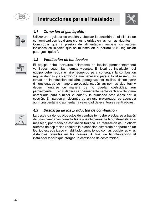 Instrucciones para el instalador 46 4.1 Conexión al gas líquido Utilizar un regulador de presión y efectuar la conexión en...