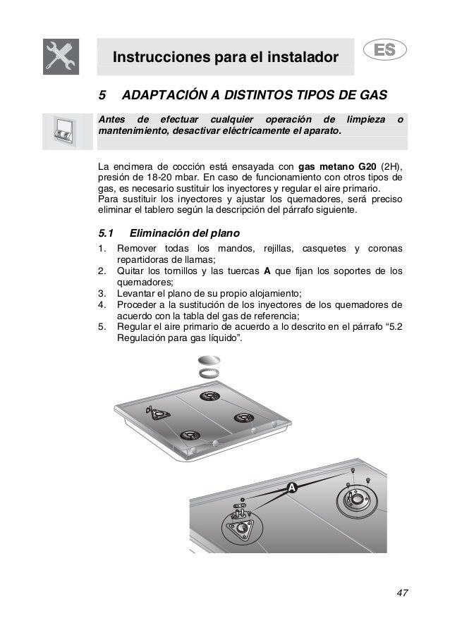 Instrucciones para el instalador 47 5 ADAPTACIÓN A DISTINTOS TIPOS DE GAS Antes de efectuar cualquier operación de limpiez...