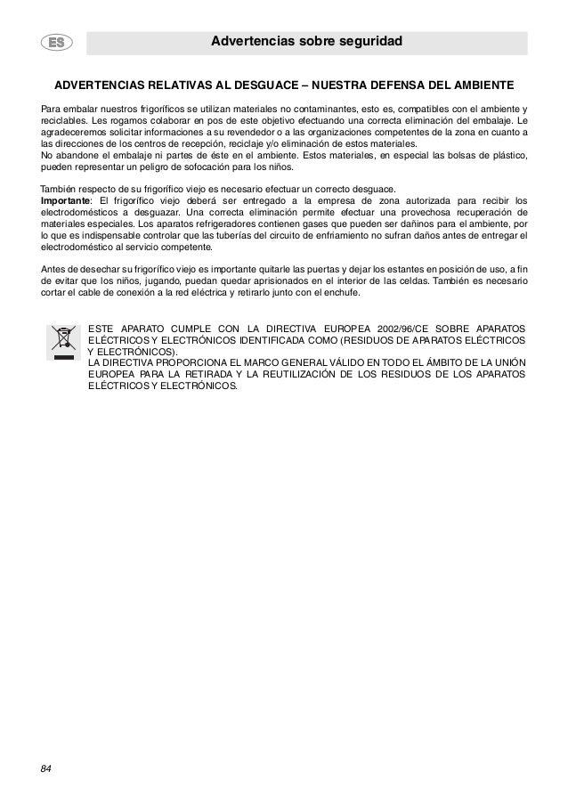 Advertencias sobre seguridad 84 ADVERTENCIAS RELATIVAS AL DESGUACE – NUESTRA DEFENSA DEL AMBIENTE Para embalar nuestros fr...