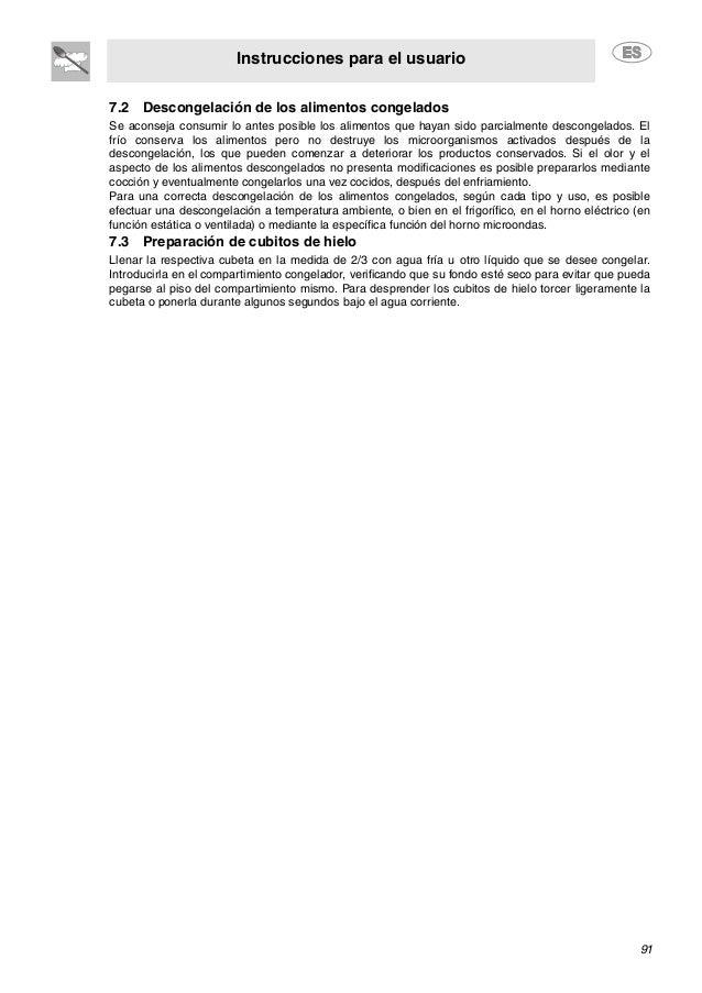Instrucciones para el usuario 91 7.2 Descongelación de los alimentos congelados Se aconseja consumir lo antes posible los ...