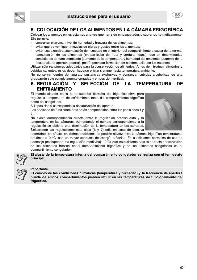Instrucciones para el usuario 89 5. COLOCACIÓN DE LOS ALIMENTOS EN LA CÁMARA FRIGORÍFICA 6. REGULACIÓN Y SELECCIÓN DE LA T...