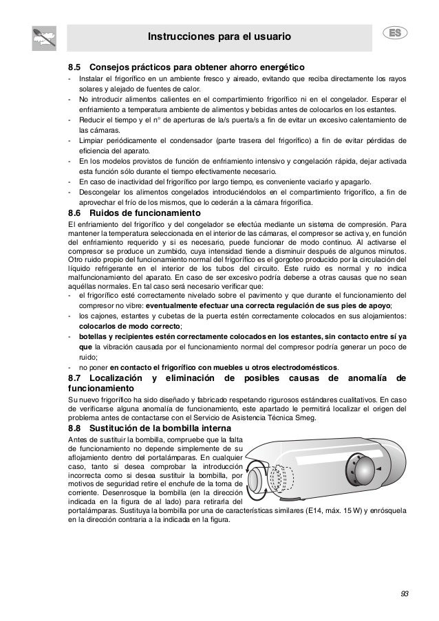 Instrucciones para el usuario 93 8.5 Consejos prácticos para obtener ahorro energético - Instalar el frigorífico en un amb...