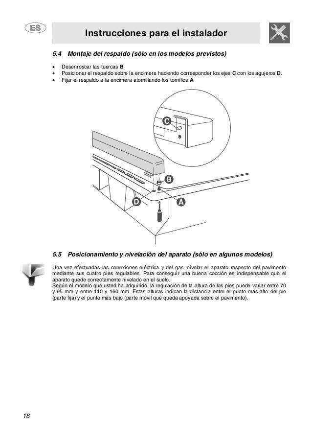 Instrucciones para el instalador 18 5.4 Montaje del respaldo (sólo en los modelos previstos) • Desenroscar las tuercas B. ...