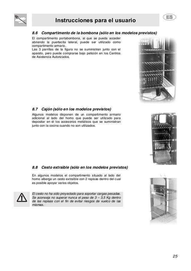 Instrucciones para el usuario 25 8.6 Compartimento de la bombona (sólo en los modelos previstos) El compartimento portabom...