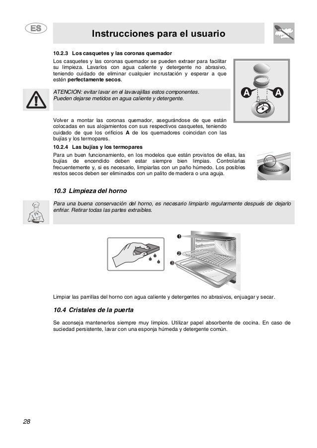 Instrucciones para el usuario 28 10.2.3 Los casquetes y las coronas quemador Los casquetes y las coronas quemador se puede...
