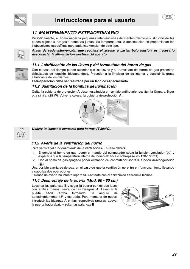 Instrucciones para el usuario 29 11 MANTENIMIENTO EXTRAORDINARIO Periódicamente, el horno necesita pequeñas intervenciones...