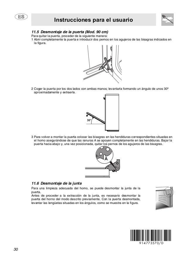 Instrucciones para el usuario 30 11.5 Desmontaje de la puerta (Mod. 90 cm) Para quitar la puerta, proceder de la siguiente...