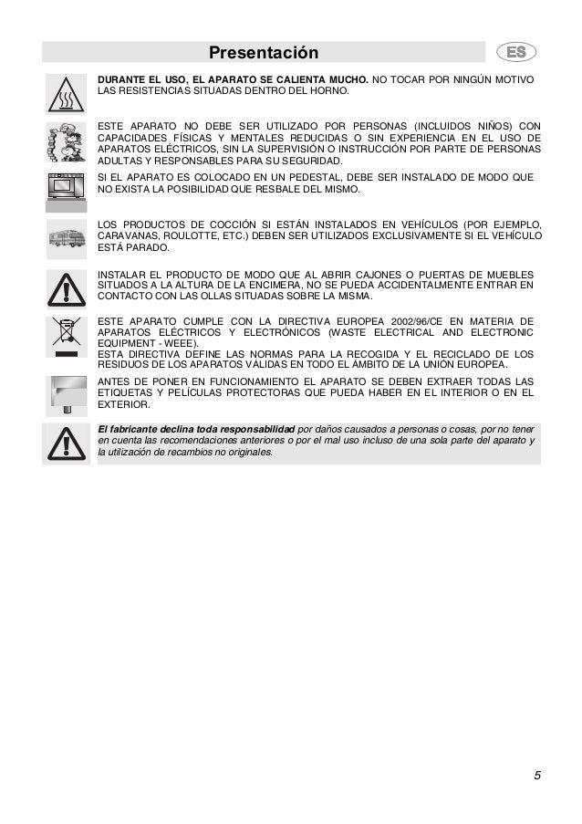 Presentación 5 DURANTE EL USO, EL APARATO SE CALIENTA MUCHO. NO TOCAR POR NINGÚN MOTIVO LAS RESISTENCIAS SITUADAS DENTRO D...