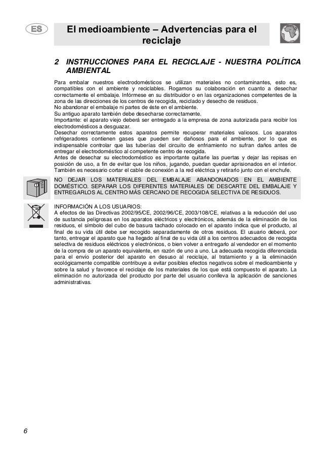 El medioambiente – Advertencias para el reciclaje 6 2 INSTRUCCIONES PARA EL RECICLAJE - NUESTRA POLÍTICA AMBIENTAL Para em...