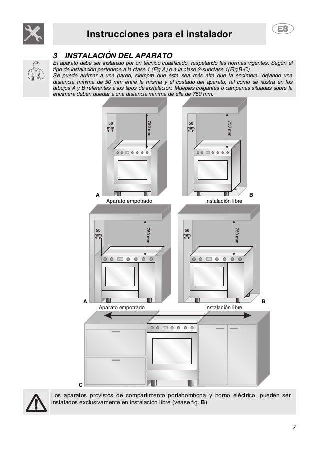 Instrucciones para el instalador 7 3 INSTALACIÓN DEL APARATO El aparato debe ser instalado por un técnico cualificado, res...