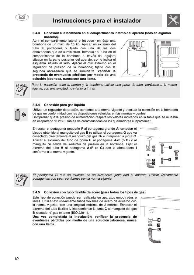 Instrucciones para el instalador 10 3.4.3 Conexión a la bombona en el compartimento interno del aparato (sólo en algunos m...