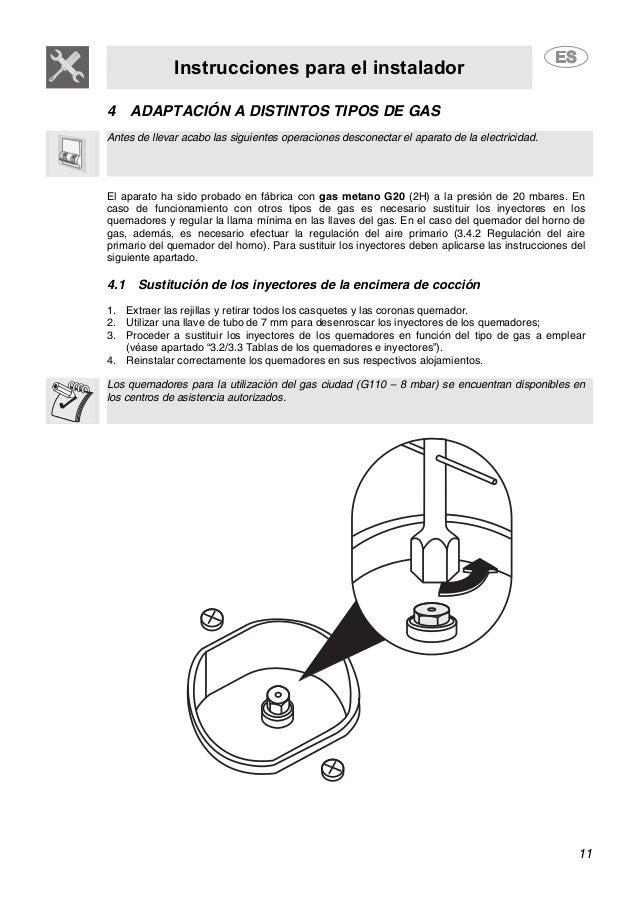 Instrucciones para el instalador 11 4 ADAPTACIÓN A DISTINTOS TIPOS DE GAS Antes de llevar acabo las siguientes operaciones...