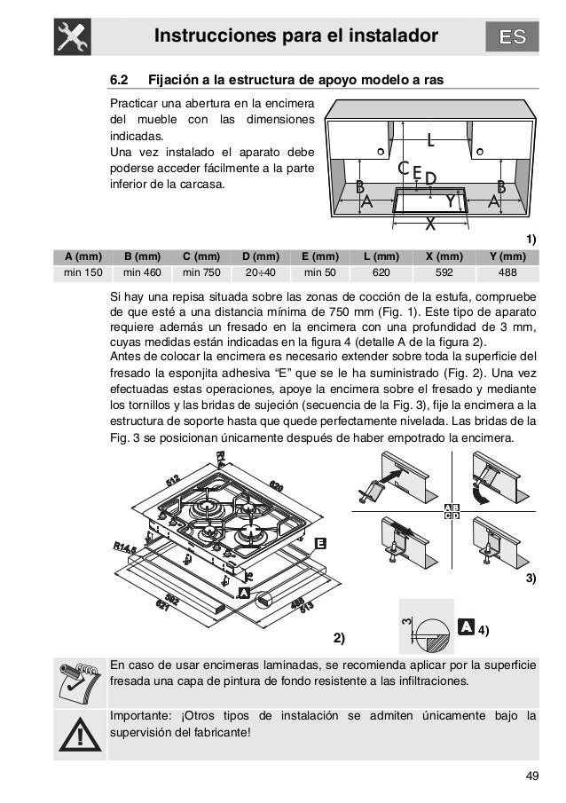 Instrucciones para el instalador 49 6.2 Fijación a la estructura de apoyo modelo a ras Practicar una abertura en la encime...
