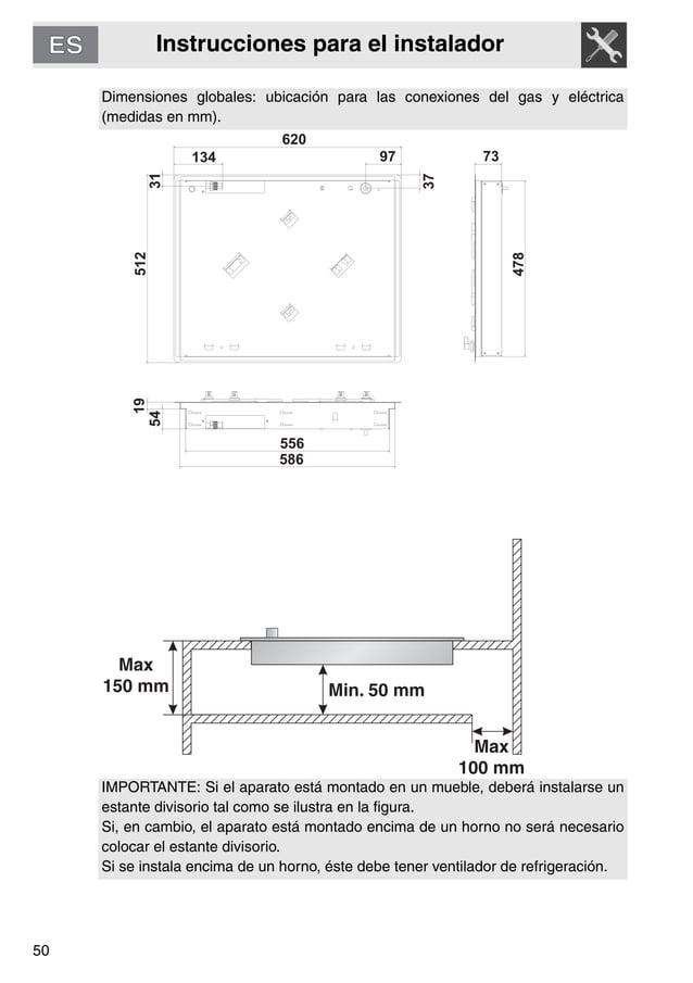 Instrucciones para el instalador 50 Dimensiones globales: ubicación para las conexiones del gas y eléctrica (medidas en mm...