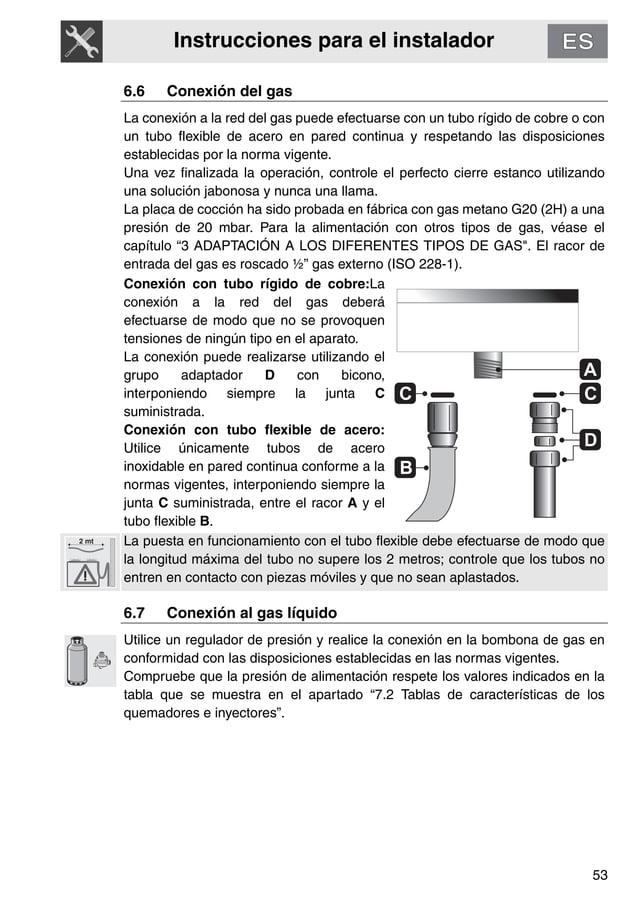 Instrucciones para el instalador 53 6.6 Conexión del gas La conexión a la red del gas puede efectuarse con un tubo rígido ...