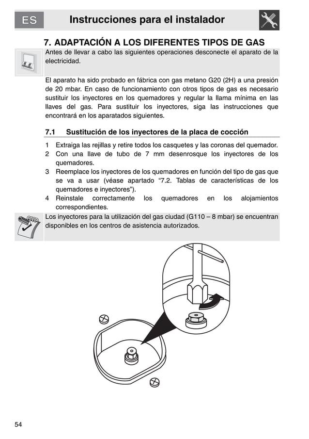 Instrucciones para el instalador 54 7. ADAPTACIÓN A LOS DIFERENTES TIPOS DE GAS Antes de llevar a cabo las siguientes oper...