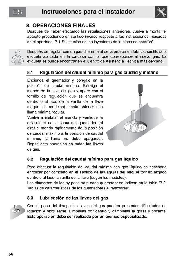 Instrucciones para el instalador 56 8. OPERACIONES FINALES Después de haber efectuado las regulaciones anteriores, vuelva ...