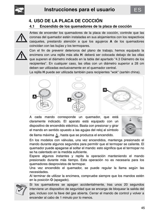 Instrucciones para el usuario 45 4. USO DE LA PLACA DE COCCIÓN 4.1 Encendido de los quemadores de la placa de cocción Ante...