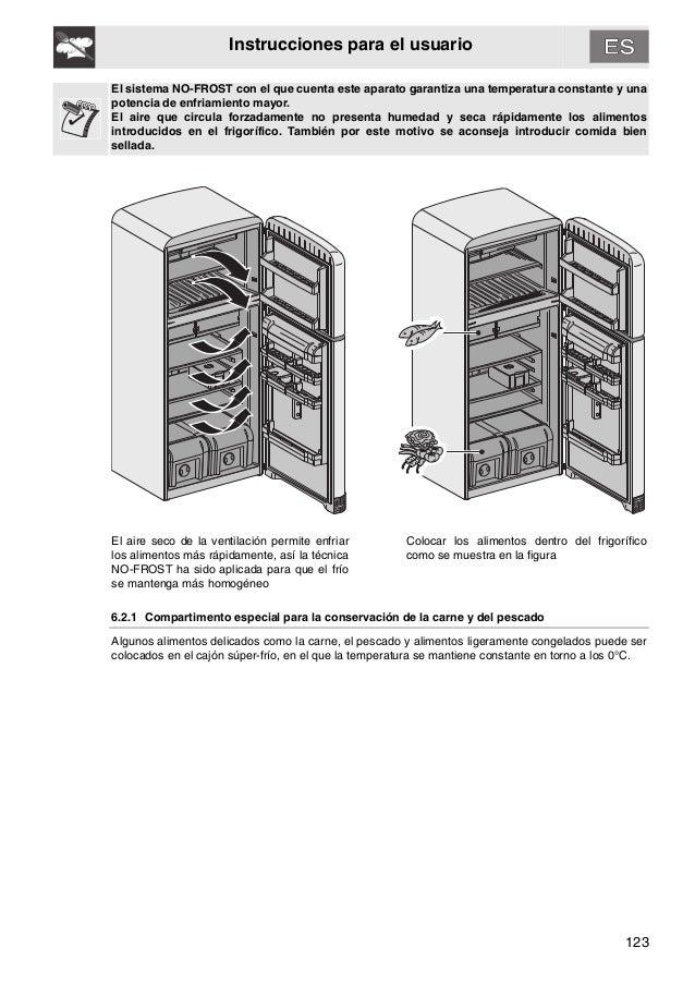 123 Instrucciones para el usuario El sistema NO-FROST con el que cuenta este aparato garantiza una temperatura constante y...