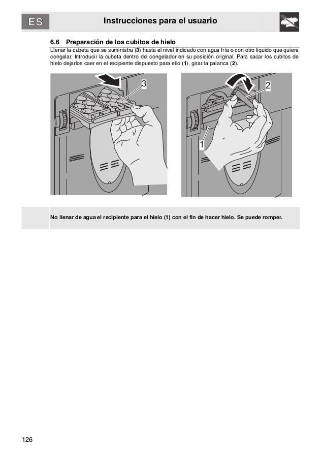126 Instrucciones para el usuario 6.6 Preparación de los cubitos de hielo Llenar la cubeta que se suministra (3) hasta el ...