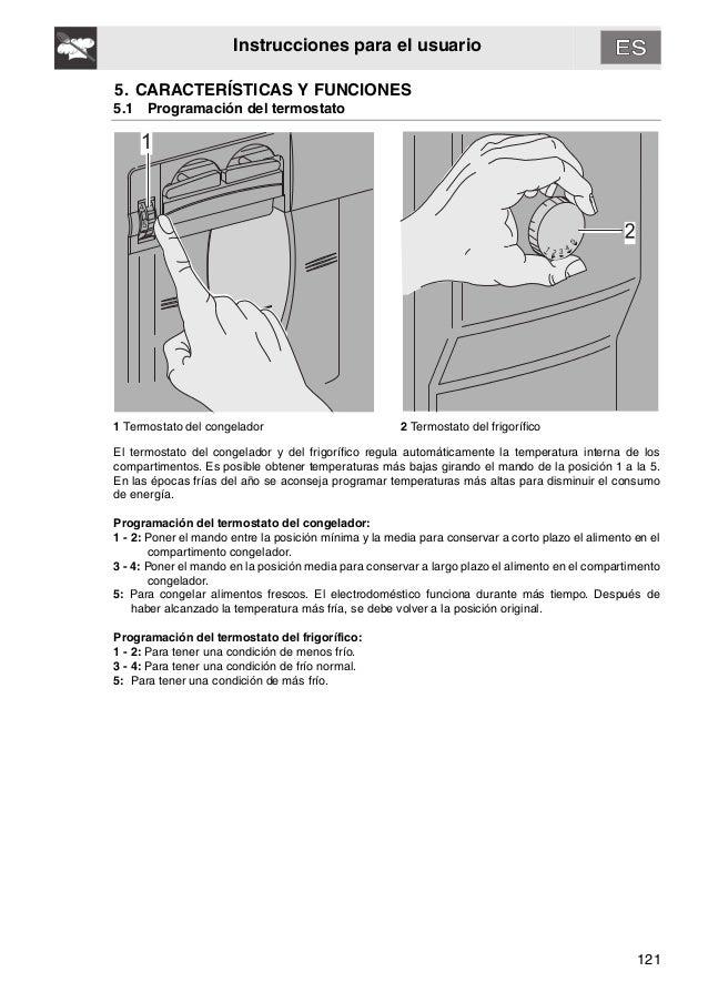 121 Instrucciones para el usuario 5. CARACTERÍSTICAS Y FUNCIONES 5.1 Programación del termostato 1 Termostato del congelad...