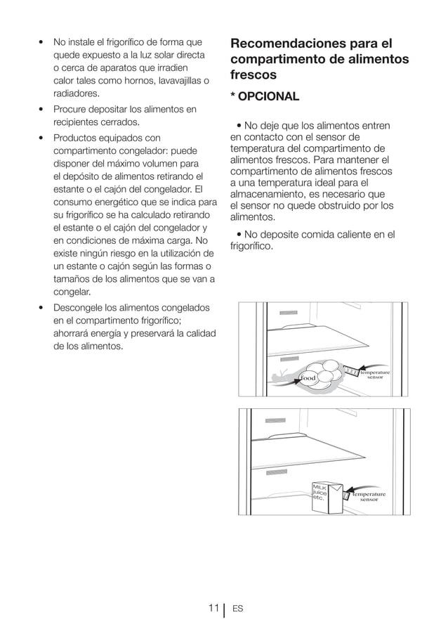 ES11 Recomendaciones para el compartimento de alimentos frescos * OPCIONAL • No deje que los alimentos entren en contacto ...