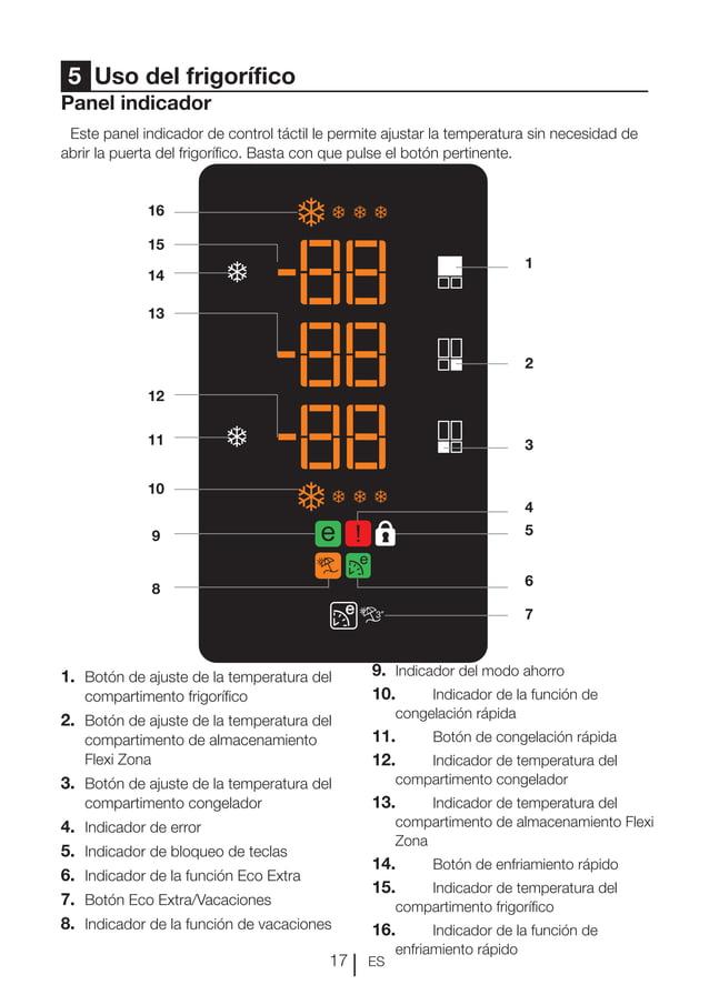 ES17 Panel indicador Este panel indicador de control táctil le permite ajustar la temperatura sin necesidad de abrir la pu...