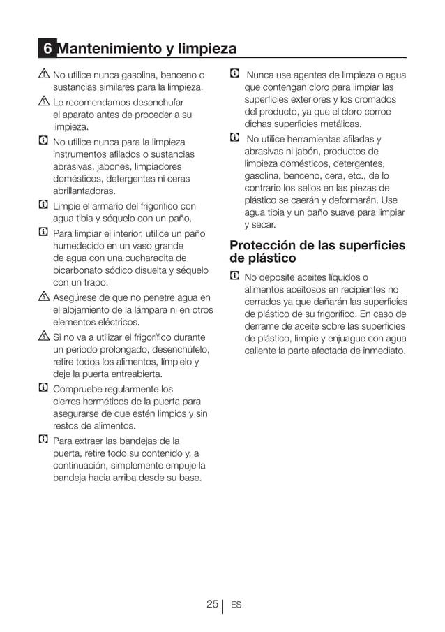 ES25 6 Mantenimiento y limpieza ANo utilice nunca gasolina, benceno o sustancias similares para la limpieza. BLe recomen...