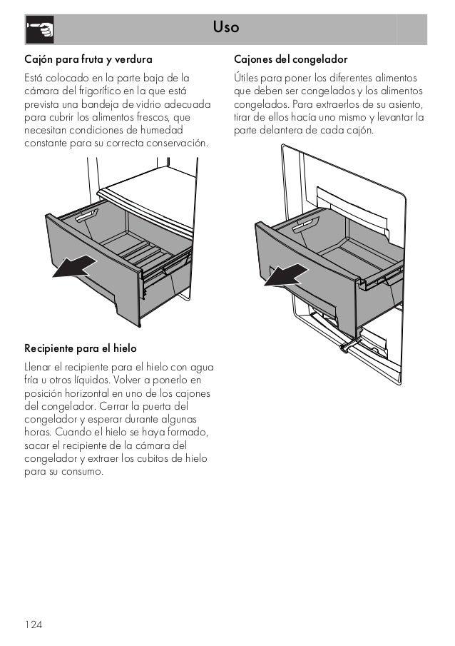 Uso 124 Cajón para fruta y verdura Está colocado en la parte baja de la cámara del frigorífico en la que está prevista una...
