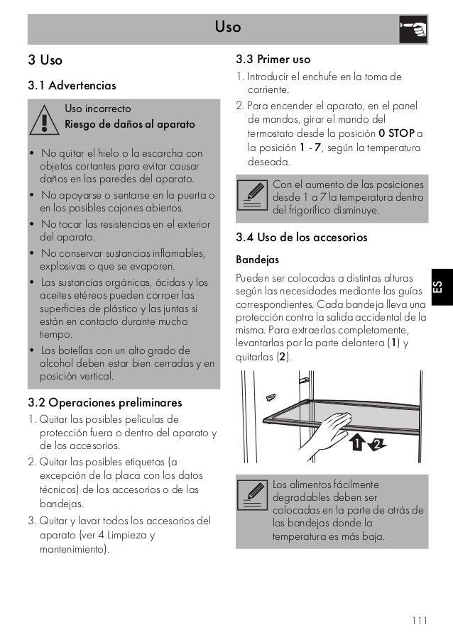 Uso 111 ES 3 Uso 3.1 Advertencias 3.2 Operaciones preliminares 1. Quitar las posibles películas de protección fuera o dent...