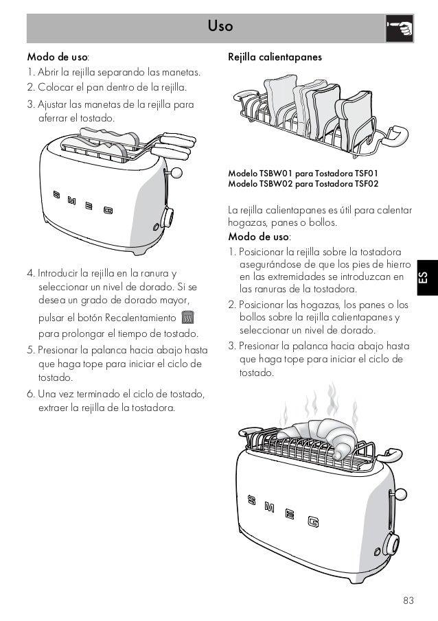 Uso 83 ESES Modo de uso: 1. Abrir la rejilla separando las manetas. 2. Colocar el pan dentro de la rejilla. 3. Ajustar las...