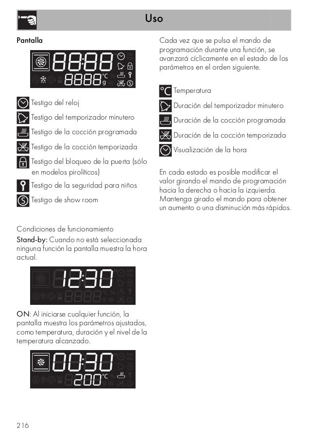 Uso 216 Pantalla Testigo del reloj Testigo del temporizador minutero Testigo de la cocción programada Testigo de la cocció...
