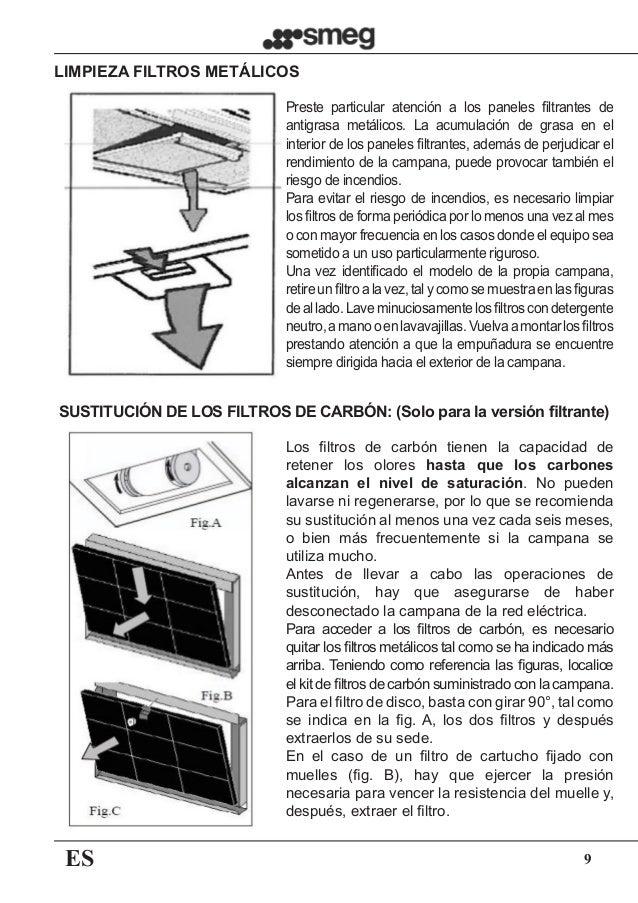 ES 9 Preste particular atención a los paneles filtrantes de antigrasa metálicos. La acumulación de grasa en el interior de...