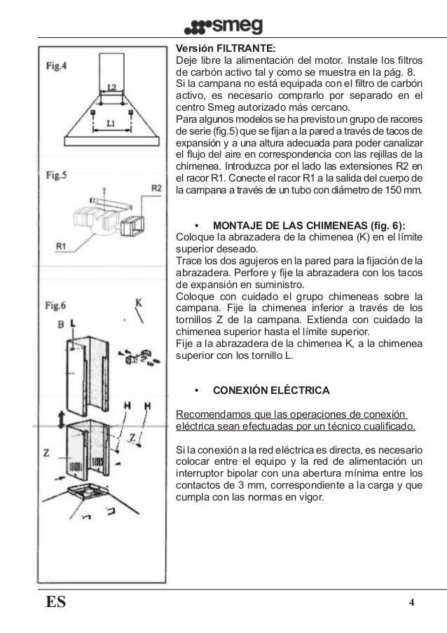 ES 4 Versión FILTRANTE: Deje libre la alimentación del motor. Instale los filtros de carbón activo tal y como se muestra e...